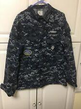 US NAVY BLUE DIGITAl Large Long Shirt Uniform NWU With Patch