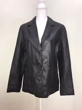 Wilsons Maxima Black Leather Button Up Jacket Coat Womens, Size L
