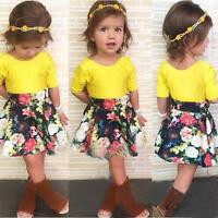 2PCS Toddler Baby Kids Girl Party Dress Outfit Tops T-Shirt+Floral Tutu Skirt US