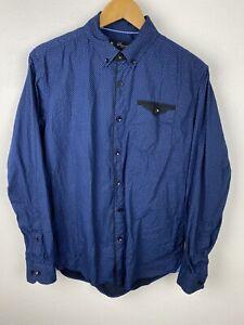 Jonathan Adams Mens Shirt Size M Long Sleeve Button Up Regular Fit Blue Check