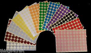 19mm Coloured Dot Stickers Round Sticky Adhesive Spot Circles Paper Labels