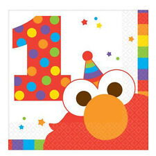 SESAME STREET Elmo Turns One SMALL NAPKINS (16) ~ Party Supplies Cake Dessert