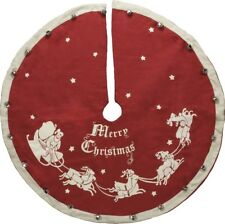 """Large Vintage-Style Jingle Bell CHRISTMAS TREE SKIRT, 52"""", Primitives by Kathy"""