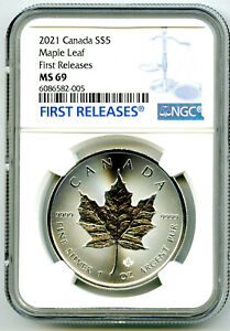 2021 $5 CANADA 1 OZ SILVER MAPLE LEAF NGC MS69 RARE FIRST RELEASES BLUE LABEL