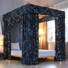 Mengersi Solid Four Corner Post Bed Curtain Canopy Mosquito Net for Boys Kids (Q