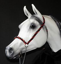 Hand Braided Arabian Style Show Halter, Horse Tack,  BLACK w/ RED ---NEW!
