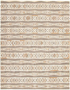 """Genuine Cowhide Patchwork Carpet 8'9"""" x 11'6"""" Grey, Ivory Leather Area Rug"""