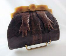 1920's Art Deco BABY ALLIGATOR Clutch Bag BUTTERSCOTCH BAKELITE Frame