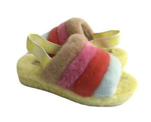 UGG FLUFF YEAH SUNDAE SLIDE YELLOW MULTI MOCASSIN SANDAL US 10 / EU 41 / UK 8