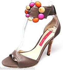 Size 7 Monticello Beige Tan Flower Leather High Heel Open Toe Sandals Shoes NEW