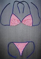 Sexy Rojo a Cuadros G-String Bikini Traje de Baño Playa Damas Tanga Traje de Baño Traje