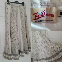 JOE BROWNS Size 10 Cream Floral Broderie Anglaise Gypsy Midi Panel Skirt
