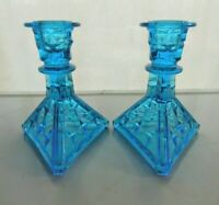 Tiara Indiana Glass 2 Blue Constellation Taper Candle Holders