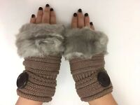 Women Winter Knitted  Warm Half Finger Fingerless Gloves with faux fur