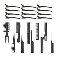 10Pcs Pro Salon Hair Styling Hairdressing Barber Brush Combs Set +12 Clips