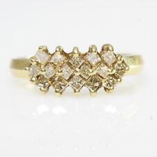 1/2 CTW Princess Champagne Diamond Pyramid Cluster Ring 10k Yellow Gold Sz 6.75