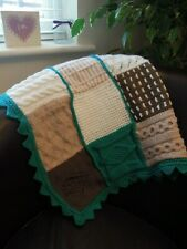 Handmade Crochet Knit Baby Blanket Lap Knee Gift Grandad Gran Mum Green Brown