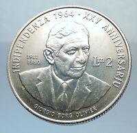 1989 MALTA Independence w Georgio Borg Olivier Antique Silver 2 Liri Coin i71385