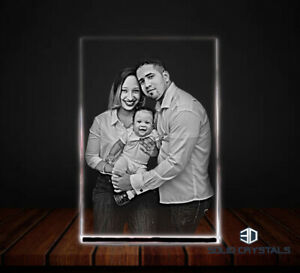 Personalised Photo Crystal Glass Plaque Laser Engraved Custom Etched- Gift Boxed