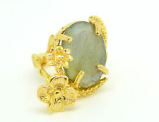 Ottoman Gems semi precious gem stone ring gold plated Labradorite statement