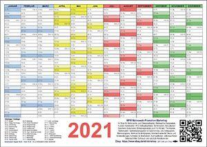 Wandkalender Wandplaner 2021 DIN A1 A2 A3 A4 gefaltet + Tafelkalender DIN A4