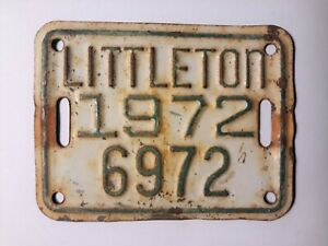 1972 Littleton Bicycle License Plate Tag Colorado