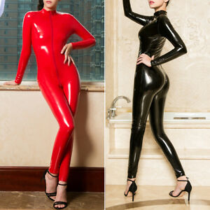 Ladies Latex Erotic Rubber Tight Body-suit Female Front Zipper Lingerie