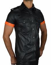 Neu Lederhemd Glattesleder mit absätze,Leather shirt,Gay Leder hemd,lederweste