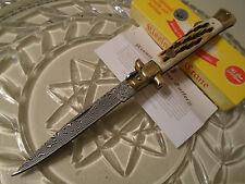 """Kissing Crane Damascus Burnt Bone Stiletto Pocket Knife KC5054 9"""" Open Brass New"""