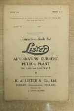 lister alternating current petrol plants 750 1000 & 1500 watt instruction book