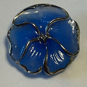 Antique Button Glsss Pansy Blue Flower Button