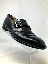 ALFANI Black Leather Monk Strap Buckle Men's Oxford Shoe Size 8 M Italy
