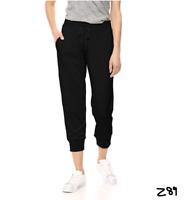 Essentials Women's Relaxed-Fit Studio Terry Capri Jogger Pant, Black, XL ~ Z89