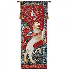 """FRENCH MEDIEVAL TAPESTRY WALL HANGING LION PICTURE PORTIERE RED 75"""" x 28"""""""