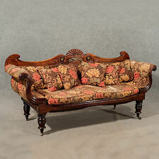Antique Settee Regency Period Scroll End Sofa Rosewood Brass Inlay English c1820