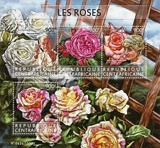Central African Rep 2015 MNH Roses 4v M/S Flowers Princess Diana Pope Stamps