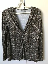Fella Hamilton Women's Knit Blouse Jumper Top SiZe 12 Grey Beige Khaki Polka Dot
