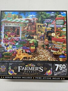 Jigsaw Puzzle 750 Pieces FARMER'S MARKET Poster Included MASTER PIECES Excellent