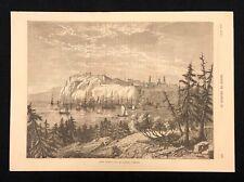 1873 antico libro di stampa/piastra di vista della città di Quebec, Canada