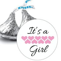108 It's a Girl Baby Shower Favors Hershey Kiss Kisses Label Stickers
