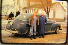 Vtg 1960s American Life 35mm Color Cupress Old couple car farm winter driving