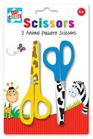 2 x Animal Print Pattern Childrens Kids Safety Scissors Arts & Craft School