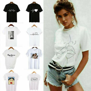 T Shirt Tee Heart Blouse Fashion Women Casual Ladies Short Sleeve Tops Printed N