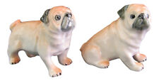 Miniature Porcelain Pug dog Figurine - Fawn Set 2 Sit & Stand Approx 3cm High
