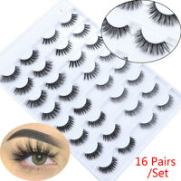 16 Pairs False Eyelashes 3D Faux Mink Lash Eyelashes Extension Natural Eyelashes