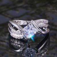 Fashion Women 925 Silver Wedding Ring Princess Cut White Sapphire Size 6-10