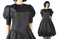 80s Prom Dress 6 M Vintage Black Sharkskin Taffeta 50s Style Gown Short Sleeve
