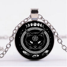 Retro Black Cat Pentagram Photo CABOCHON Glass Pendant Chain Necklace Jewelry