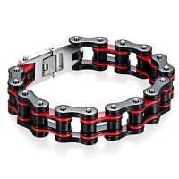 "8.7"" Men's Biker 16mm Wide Stainless Steel Heavy Motorcycle Chain Link Bracelet"
