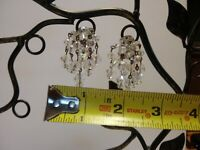 Vintage Clear Faceted Beaded Dangle Clip On Earrings Costume Jewelry Silver